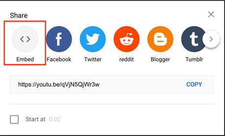 embed code button for youtube